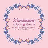 The unique leaf and pink wreath frame, for seamless romance greeting card template concept. Vector