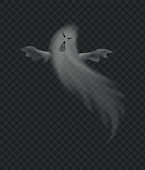 Realistic ghost, scary monster for halloween. Spooky phantom, flying poltergeist figure with frightening face