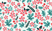 Christmas floral pattern background, with seamless leaf and flower design.