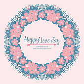 Elegant frame with beautiful leaf and flower drawing, for happy love day greeting card wallpaper design. Vector