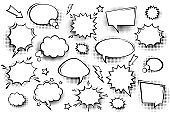 Collection of empty comic speech bubbles with halftone shadows. Hand drawn retro cartoon stickers. Pop art style. Vector illustration