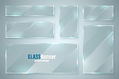 Glass frame. Realistic glossy transparent glass banner with glare. Vector design element