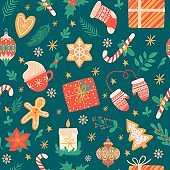 Christmas seamless pattern. Traditional xmas attributes, christmas tree toys, gingerbread, presents for cards and wrapping vector texture