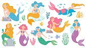 Mermaid. Cute mythical princess, little mermaids and dolphin, seashell and seaweeds, fishes and corals underwater game vector characters