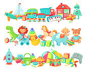 Cartoon toys dividers . Vector set of kids game for play