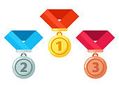 Gold, silver, bronze medals with ribbon. Reward for winner or champion in competition. Getting award