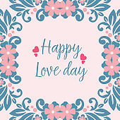 Romantic Pattern of leaf and flower frame, for elegant happy love day greeting card design. Vector