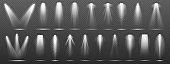 Floodlight or spotlight for stage, scene or podium. White lightning collection set on transparent background