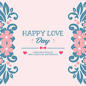 Beautiful frame with unique leaf and flower drawing, for happy love day invitation card design. Vector