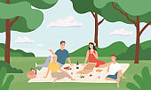 Friends at picnic. Happy young men and women having lunch together outdoor, rest to nature summer vacation cartoon vector illustration