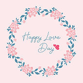 Elegant Happy love day greeting card design, with leaf and peach seamless wreath frame. Vector
