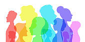 Silhouette social diversity. People of diverse culture. Men and women group profile. Racial equality in multicultural society vector concept