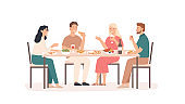 Friends eating. Fun and smiling people at table in restaurant, cafe or home drink beverage, eat tasty dishes friendly hangout vector concept