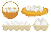 Eggs in nest and basket. Tray of chickens eggs. Open cardboard paper package with organic and natural products