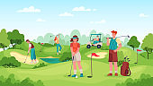 People playing golf. Golfers couple with golf clubs on green grass, bags with equipment and driving cart, sports outdoor vector concept.