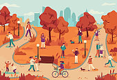 People in autumn park. Women and men relaxing outdoor, ride bike in public park, walking dog, jogging, enjoy fall season vector background