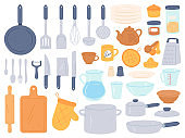 Kitchenware and utensils. Cooking baking kitchen tools. Chef cook equipment pan, bowl, kettle and pot, knives and cutlery, flat vector set