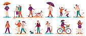 People in fall season. Men and women walk street, ride bicycle, walking dog. Young and adults with umbrella in autumn park vector set