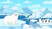 Cartoon arctic landscape with animals. White bears and penguins on drifting glacier, snow mountains iceberg polar winter vector illustration.