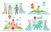 Open books with fairy tales characters. Kingdom with castle, royal knight giving rose to princess, fairies