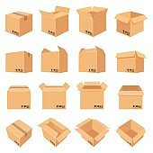 Open and closed cardboard box. Delivery package in side, front and top view. Packaging process. Carton boxes with fragile signs vector set