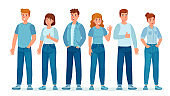Group of people in jeans. Students in casual denim clothes standing together. Young women and men. Teenagers in jean pants vector concept