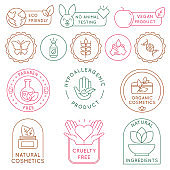 Organic cosmetics badges. Bio beauty products for skin, package seal ecology, vegan, natural ingredient. Eco food icon and label vector set