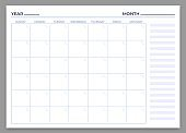 Monthly planner template. Vector month and week plan