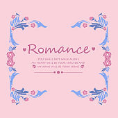 Seamless pattern of leaf and pink flower frame, for romance greeting card template. Vector
