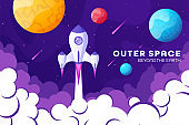 Space futuristic modern, colorful background with rocket, planets and stars. Starship, spaceship in night sky. Solar system, galaxy and universe exploration. Vector illustration