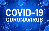 Covid-19 text. Coronavirus banner with blue cells