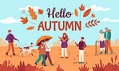 Hello autumn. Happy people walk in public park, red yellow trees and falling leaves, healthy lifestyle in fall season vector background