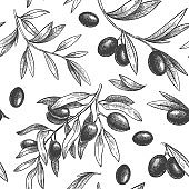 Seamless black olive pattern. Greek olives on branches with leaves, hand drawn sketch vector illustration