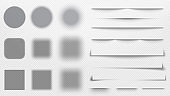 Realistic shadows dividers. Line shadow, transparent overlay template vector illustration set