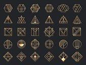 Art deco geometric shapes. Golden geometrical art shape, gold circle symbol and abstract triangle. Creative lines square and elegant geometrics rhombus vector set