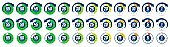 Color minutes icon. Timer, 1 minute ago and 5-55 minutes label dial with arrow. Set time vector icons set