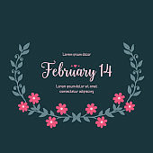 Poster design for 14 February, with beautiful leaf and wreath frame design. Vector
