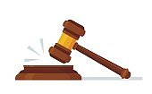 Judges wooden hammer. Judicial decision, hammer blow for rule of law and judged by laws concept cartoon vector illustration