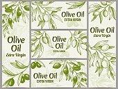 Olive oil banner. Organic oils labels, green olive branches and extra virgin vector label vector illustration set