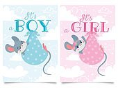 Its Boy and Girl cards. Baby shower label with cute mouse, mice children vector cartoon illustration set