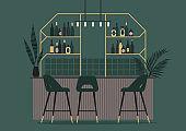 Vintage cocktail bar interior, premium alcohol and art deco decoration, no people