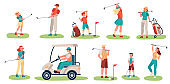 Golf players characters. Men, women and children playing golf on green grass, golfers with clubs and equipment, sports activity vector set