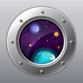 Spaceship window view. Porthole from rocket to dark sky with Earth, stars, planets. Spaceship exploration.