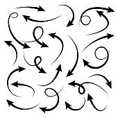 Black Hand Drawn Arrows Set on White Background. Arrow, Cursor Icon. Vector Pointers Collection. Back, Next Web Page Sign