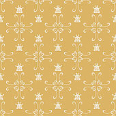Modern Golden Wallpaper In Retro Style, seamless pattern, background, vector