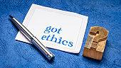 Got ethics? Question on napkin.