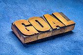 goal word in letterpresss wood type
