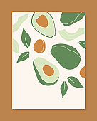 Stylish vector cover design with avocado fruits. Composition of trendy hand drawn avocado and leaves for postcards, print, posters, brochures, etc. Vector illustration.