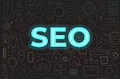 SEO icons set. Perfect line icons for seo, business and social media marketing with neon text SEO