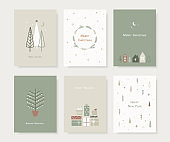 Set of hand drawn Christmas greeting cards. Trendy hand drawn christmas trees, snowflakes, gift box and cute houses in scandinavian style. Vector illustration.
